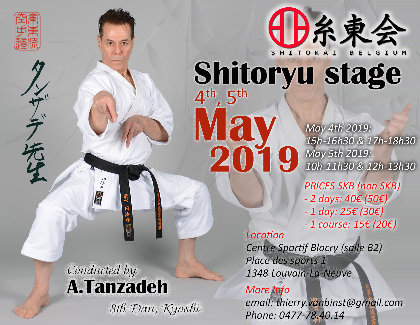 Belgium Karate Seminar with Sensei Tanzadeh Shitoryu Karate 8th Dan, Kyoshi