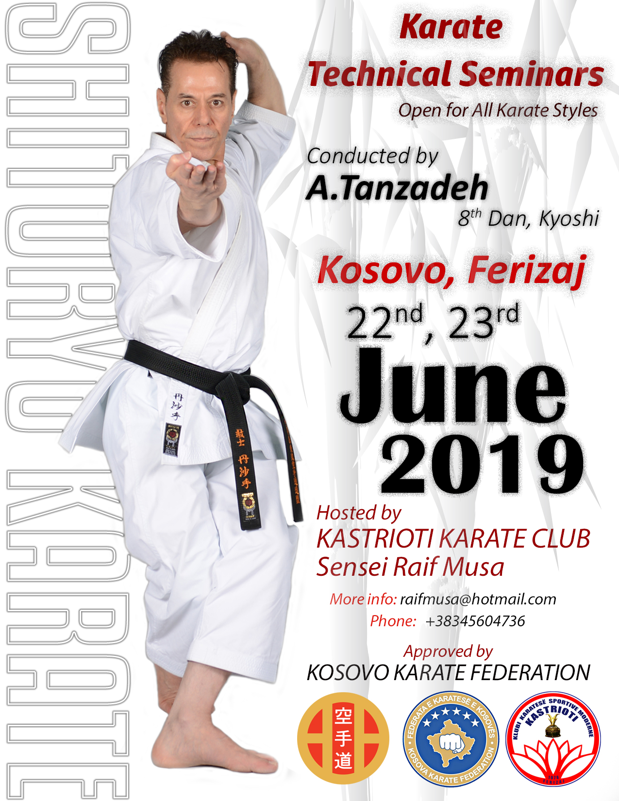 Kosovo Karate Seminar with Sensei Tanzadeh Shitoryu Karate 8th Dan, Kyoshi