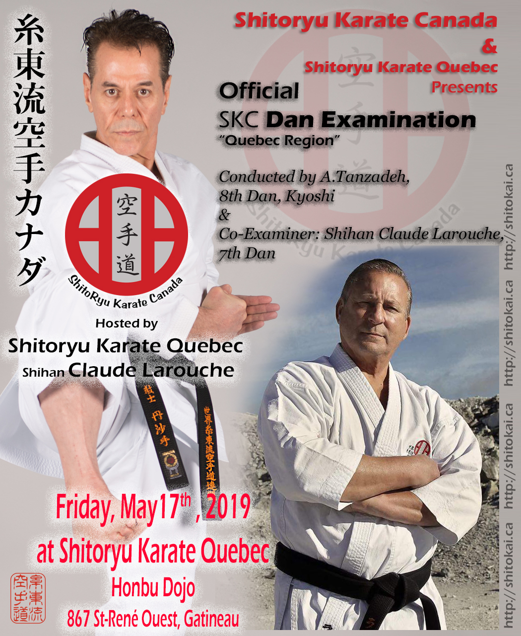 Kyoshi Tanzadeh, 8th Dan, karate seminars in Quebec - May 2019