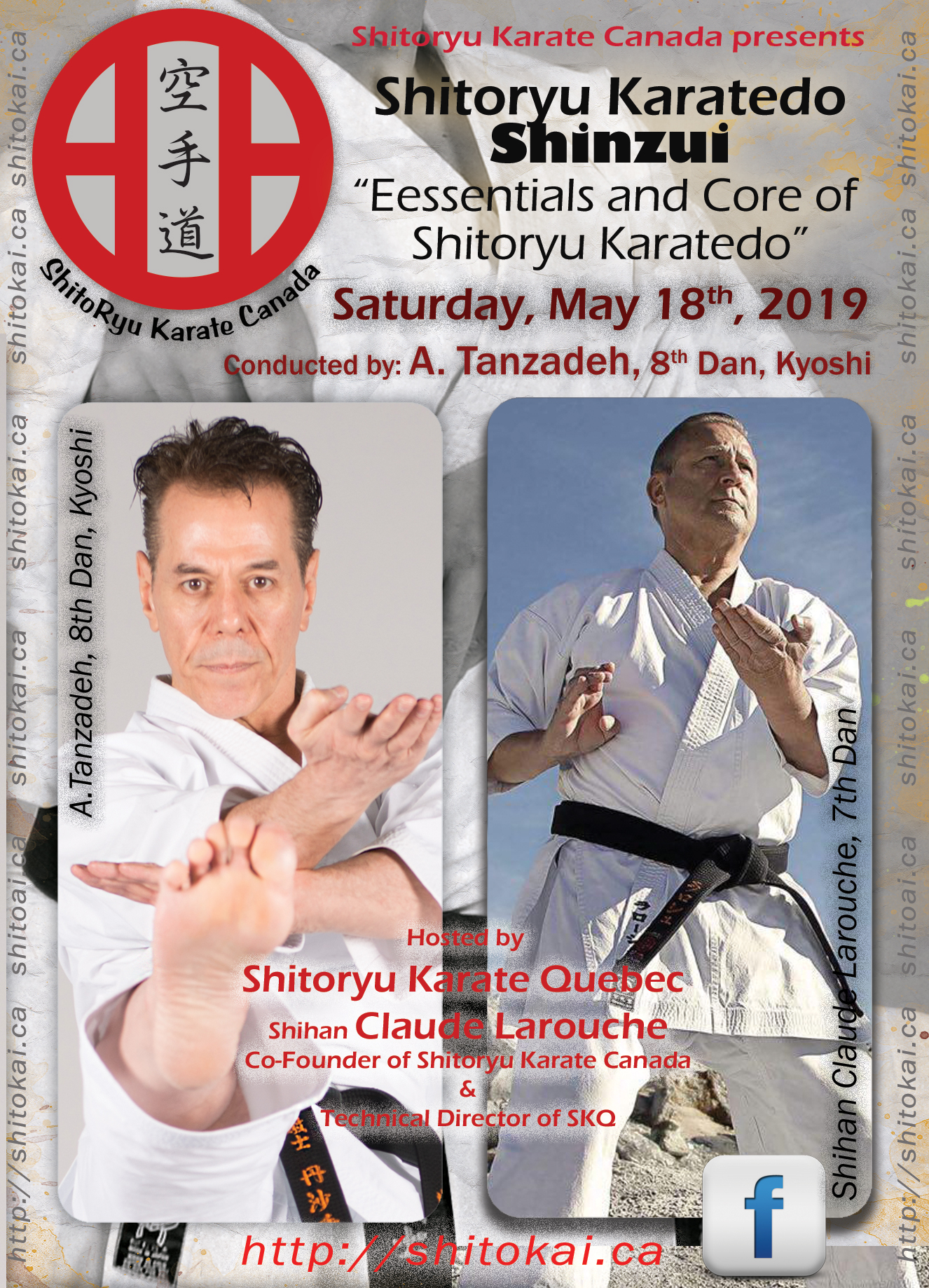 Master Tanzadeh, 8th Dan, Kyoshi karate seminars in Quebec - May 2019